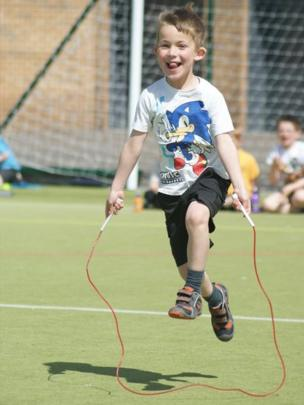 Boy with a skipping rope