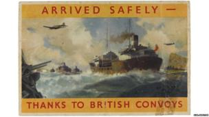 "A packing label which reads: ""Arrived safely – thanks to British Convoys"". On the reverse the same message of thanks appears in different languages."