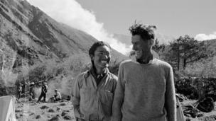 Edmund Hillary and Tenzing Norgay pictured during their descent after climbing Mount Everest