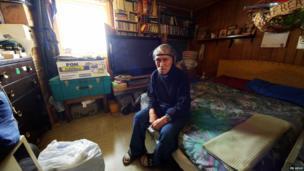 Veteran Dan (Seetook) Omedelena in his home
