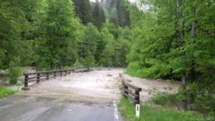 Flooded road on the way to Salzburg. Photo: Andrew Learoyd