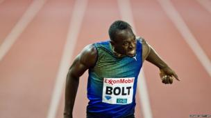 Usain Bolt of Jamaica competes to win the mens 200 m event during the Diamond League athletics competition at the Bislett Stadium in Oslo