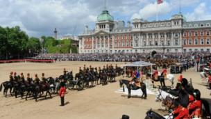 Queen Elizabeth II inspects the Household Cavalry during the Colour at Horse Guards Parade