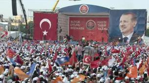 Tens of thousands attend a rally in support of the ruling AK party on the outskirts of Istanbul