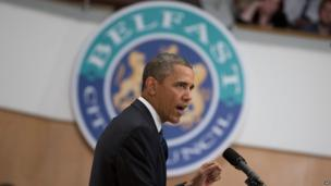 President Barack Obama addressed a gathering at the Waterfront Hall in Belfast, ahead of the G8 summit in County Fermanagh.