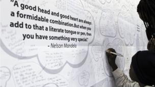 A get-well poster for Mandela in Johannesburg, South Africa - Thursday 20 June 2013