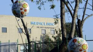 Balloons outside the Mediclinic Heart Hospital in Pretoria on 24 June 2013
