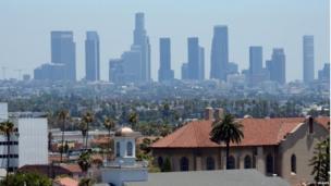 Heat haze over Los Angeles, California (28 June 2013)
