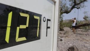 Thermometer reading 127F (47C) in Death Valley, California (28 June 2013)