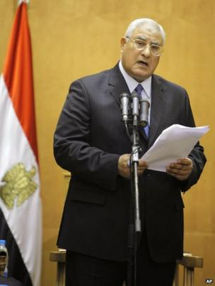 Adly Mansour speaks as he is sworn in as interim president of Egypt in Cairo, 4 July