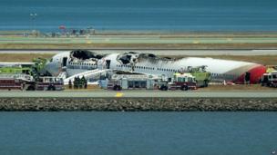 Asiana Flight 214 after it crashed at San Francisco International Airport on Saturday