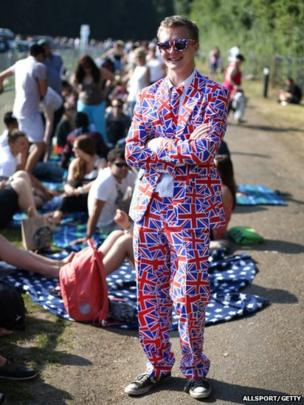 A tennis fan wore a suit adorned with Union Jacks, as he waited in line for tickets to the men's final.