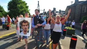 People celebrating on the streets of Dunblane