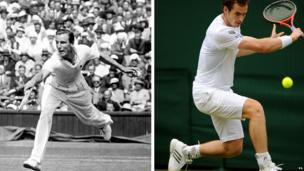 Fred Perry on the left and Andy Murray on the right