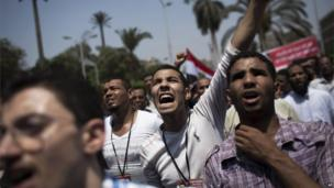 Pro-Morsi protesters in Cairo University (8 July 2013)