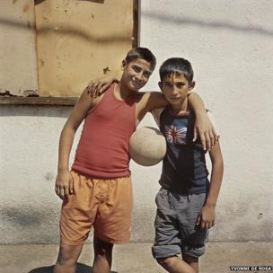 Two boys with a football