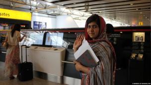 Malala Yousafzai at Heathrow airport