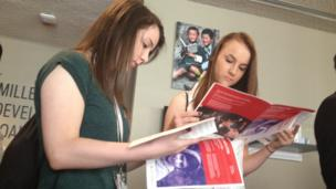 Lauren and Holly reading Malala Day programmes