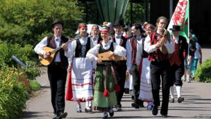 musician marching with instruments