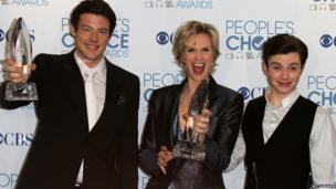 Monteith, with Jane Lynch and Chris Colfer