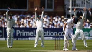 Cricketers playing on the first day of the second Ashes cricket test match