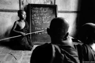 Buddhist novices during lessons in a monastery in Mandalay