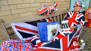 Man dressed in union jack clothes
