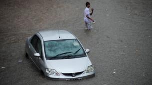 Waterlogged street in India