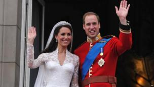 The Duke and Duchess of Cambridge on their wedding day