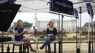 TV crew outside Buckingham Palace