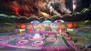North Koreans put on gymnastics and arts performances during the Arirang Mass Games in Pyongyang 22 July 2013, as part of celebrations ahead of the 60th anniversary marking the end of the 1950-53 Korean War