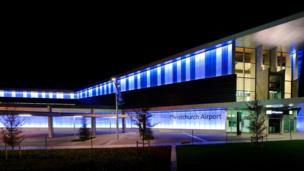 Christchurch airport in blue