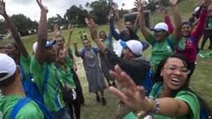 Pilgrims in Quinta da Boa Vista park. 23 July 2013