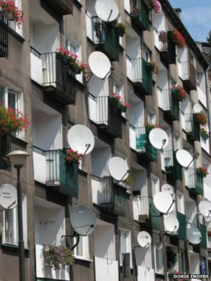 Satellite dishes on a block of flats