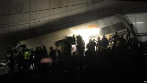 Wreckage of derailed train near Santiago de Compostela.