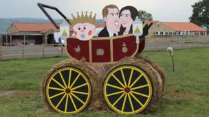 Straw sculpture of the royal family. Photo: Jack Henshaw