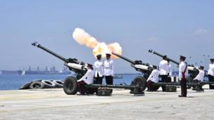 21 gun salute by the British Forces in Gibraltar. Photo: Sam Peat
