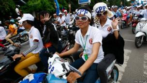 Supporters of Prime Minister Hun Sen's Cambodian People's Party in Phnom Penh
