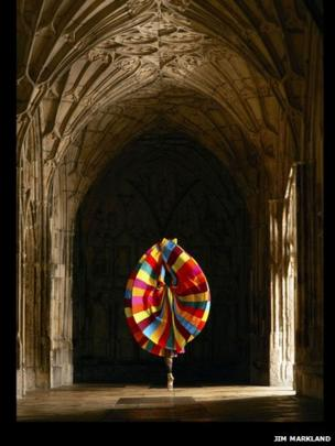 Rachel Louisa Maybank in the cloisters at Gloucester Cathedral