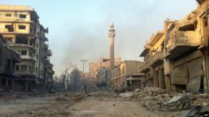 Damaged buildings in Khalidiya, Homs (28 July 2013)