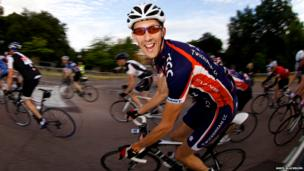 Cyclist Alex Tinsley, from Twickenham Cycling Club, at 06:50 BST near Richmond Gate