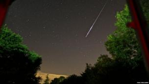Paul Williams photo of meteor showers across Mannings Heath, West Sussex, England.