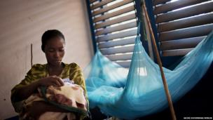 Chimene Kpakanale with her new baby at a Merlin-supported hospital in Obo, Central African Republic