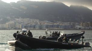 A Spanish Civil Guard boat collides with a Gibraltar police boat as a protest took place