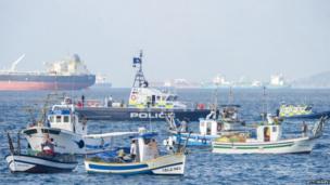 Spanish fishermen protest in the bay of Algeciras