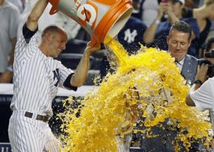 Brett Gardner dumps liquid on Jayson Nix.