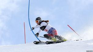 Ksenia Alopine of Russia competes during the Alpine Slalom.