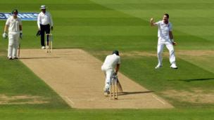 England's James Anderson celebrates bowling out Australia's Michael Clarke during day one of the Fifth Investec Ashes Test match at The Kia Oval, London