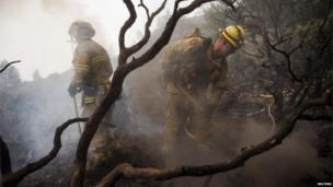 Firefighters at work surrounded by charred debris near Yosemite National Park in California on 24 August 2013