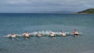 Taking a dip on the Isle of Gigha
